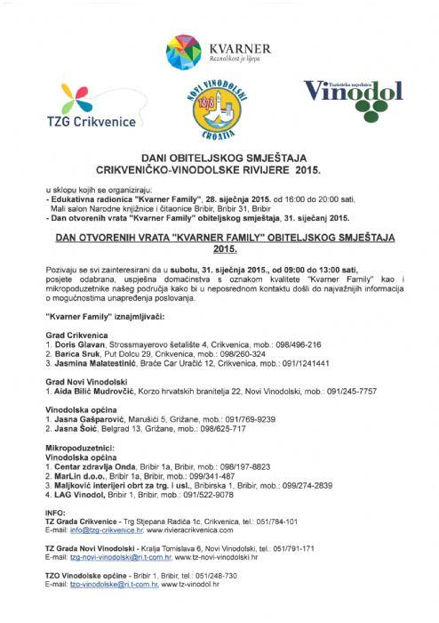 Dani obiteljskog smještaja Crikveničko - vinodolske rivijere 2015.